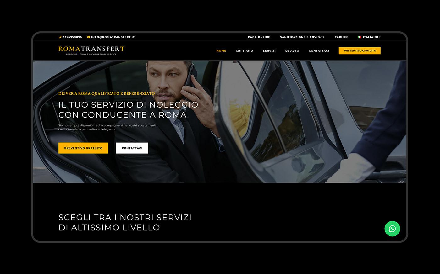 chauffeur driver elegant luxury minimal private driver roma service TRANSFER Website