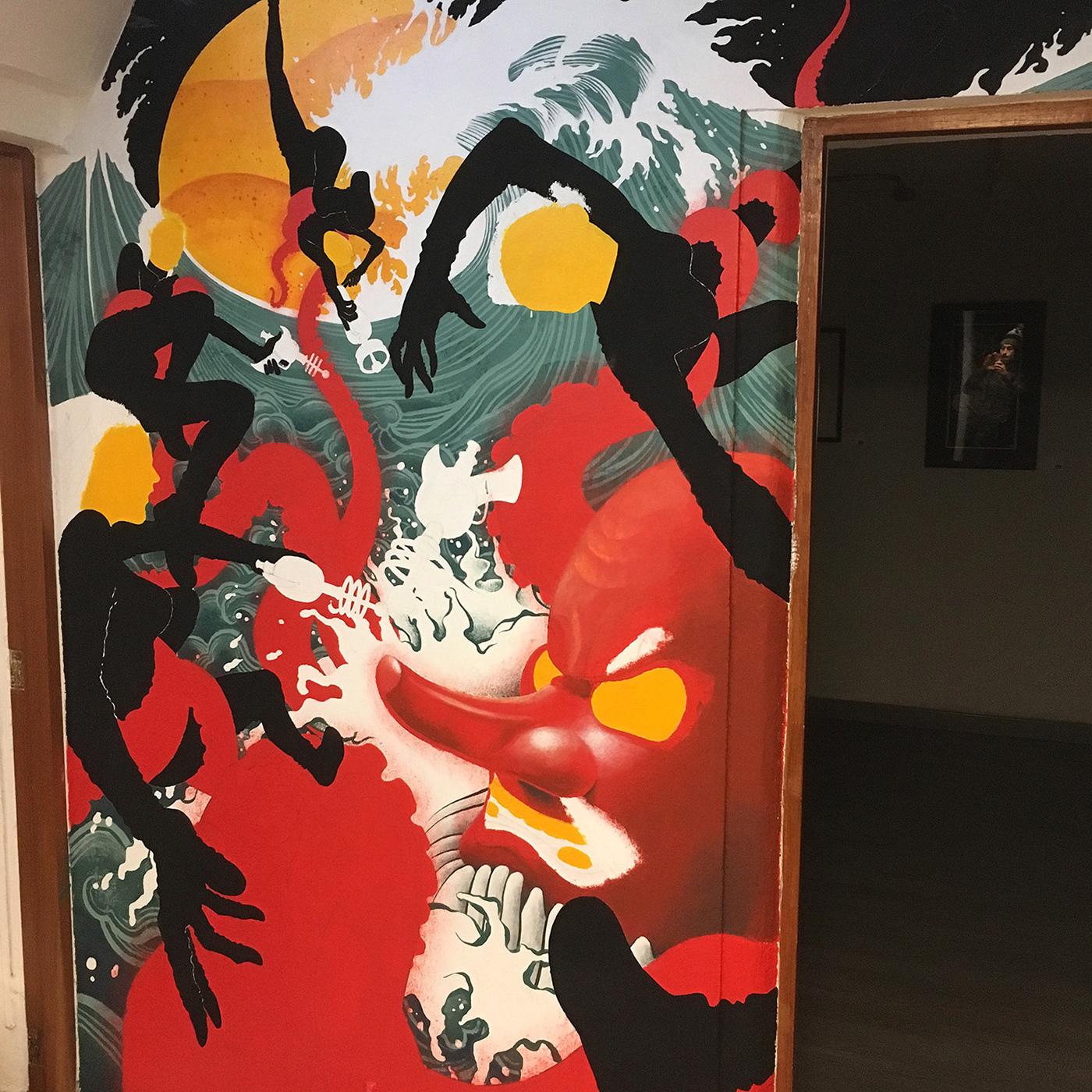Mural painting   girls femenine women octopus waves sea japanese Beautiful