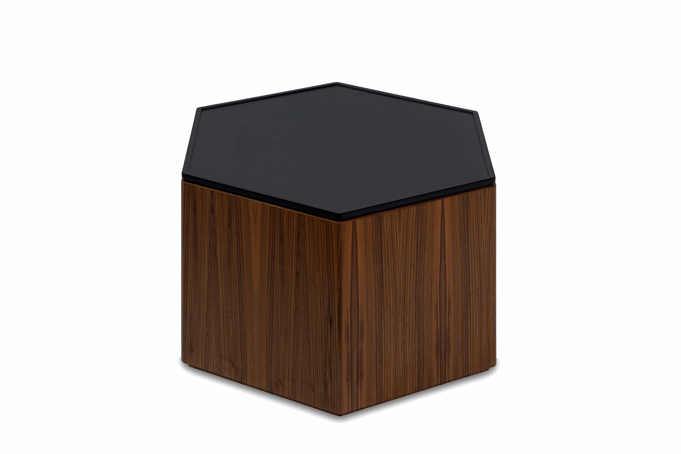 Polygon storage hexagon coffee table on behance polygon storage hexagon coffee table quartersawn american black walnut base with black top geotapseo Images
