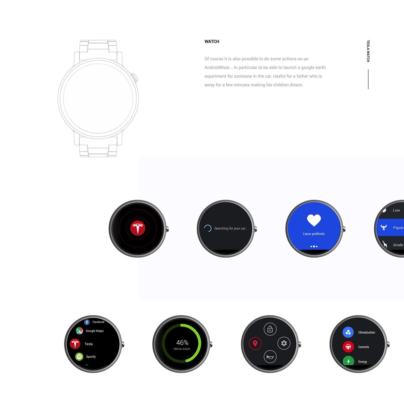 google tesla dashboard mobile watch car Interface ux UI Elon Musk