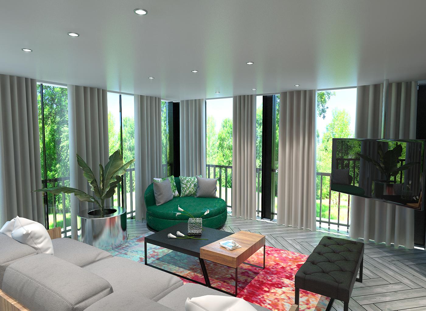 modern tropical house wood mirror garden vertical garden 3D