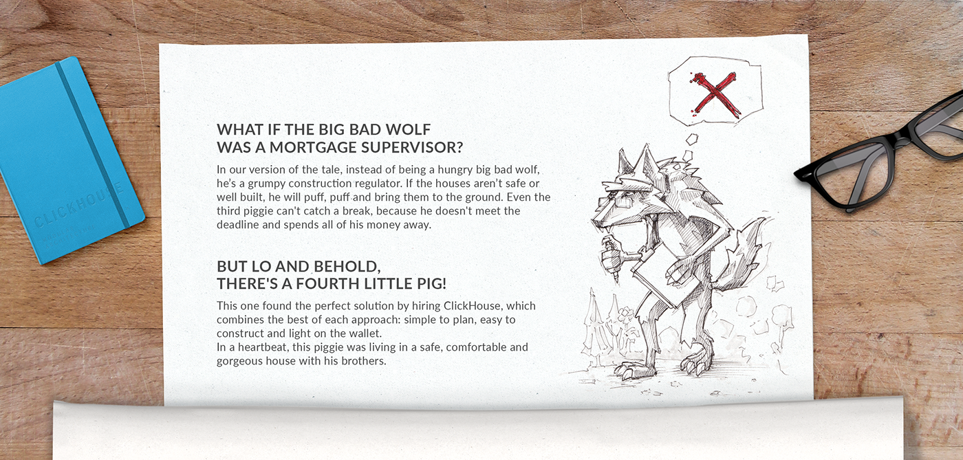 3d animation little pig house modular kids funny clickhouse fairy tale