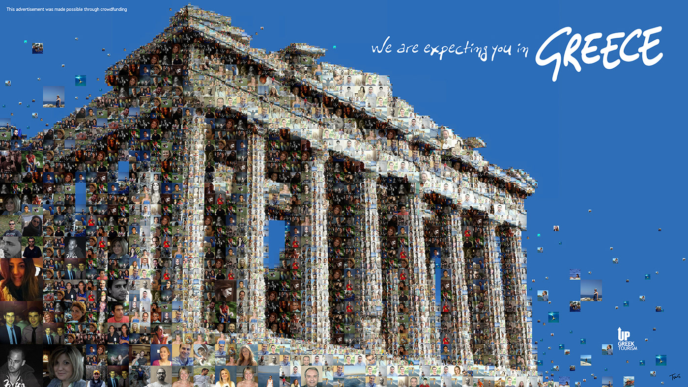 Greece tourism mosaic photomosaic Blue Color crisis visual design grassroots crowdfunding UpGreekTourism New York times square We The People