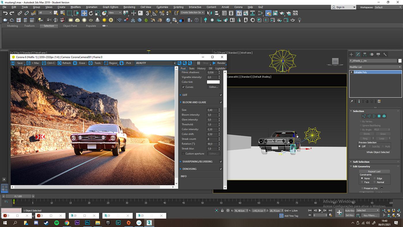 3D corona render  estudo 3d