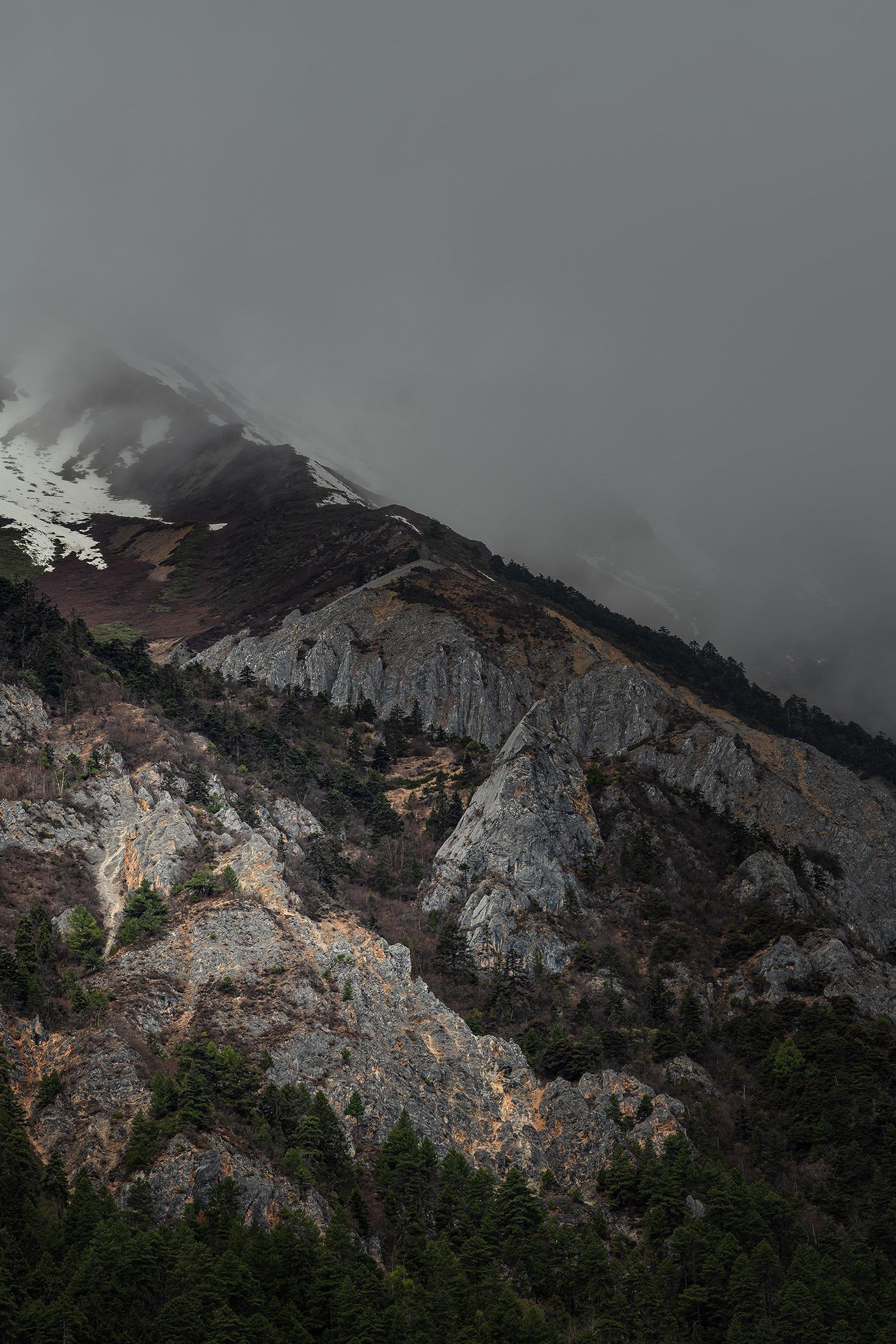 Landscape Massif Moody mountain Nature Outdoor tibet Travel