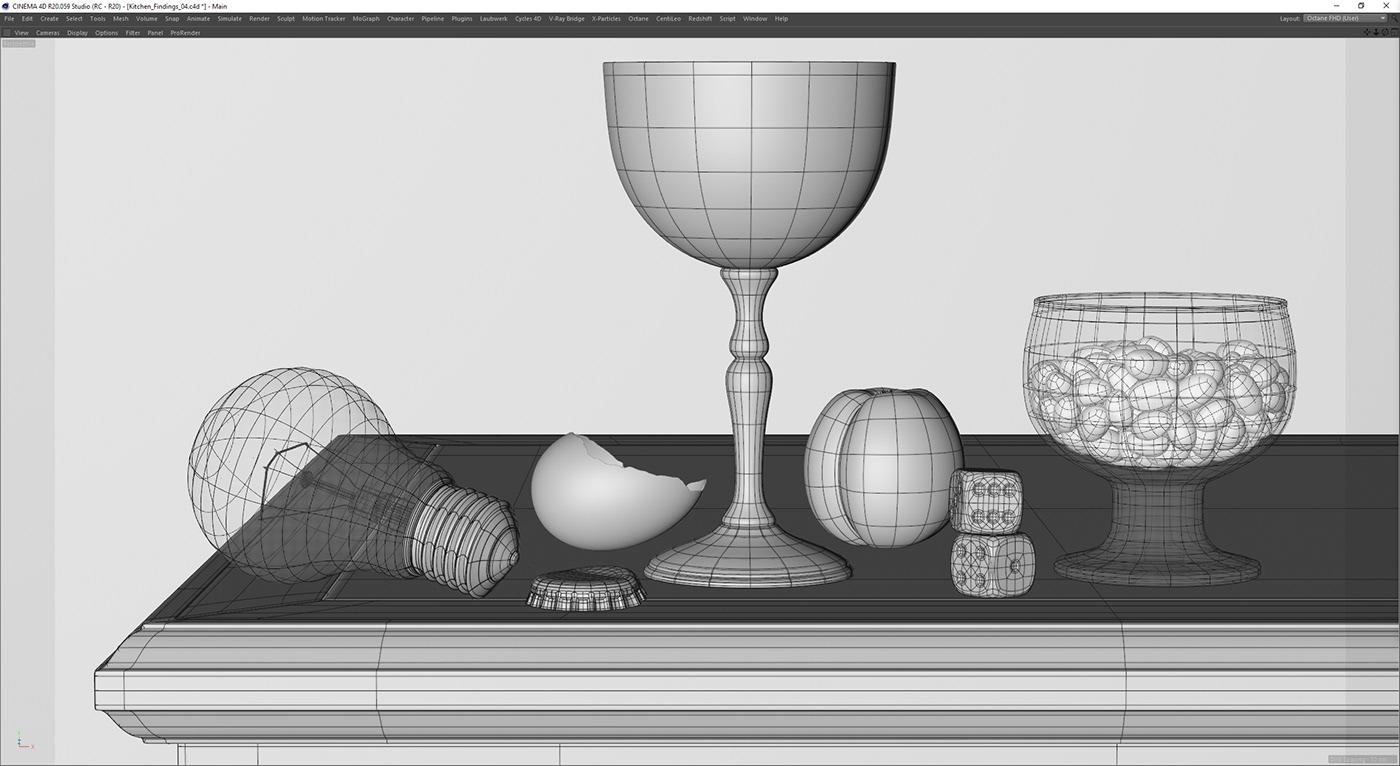 still life hyperrealistic CGI rendering kitchen glass Raphael Rau cinema 4d maxon refraction