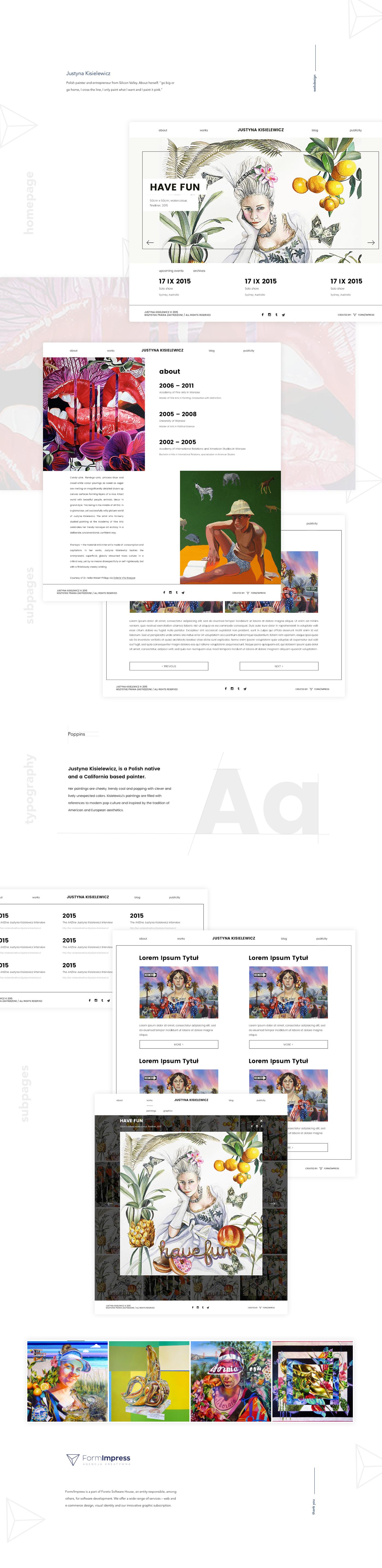 Website UI/UX artist justyna kisielewicz formimpress poland polska rwd Web Design