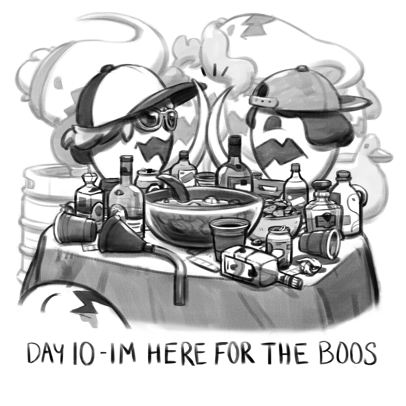 inktober black and white ILLUSTRATION  Halloween Magic   Witches Ghosts ghouls