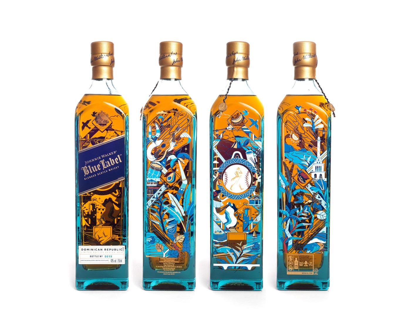 4 views of the Johnnie Walker Bottle