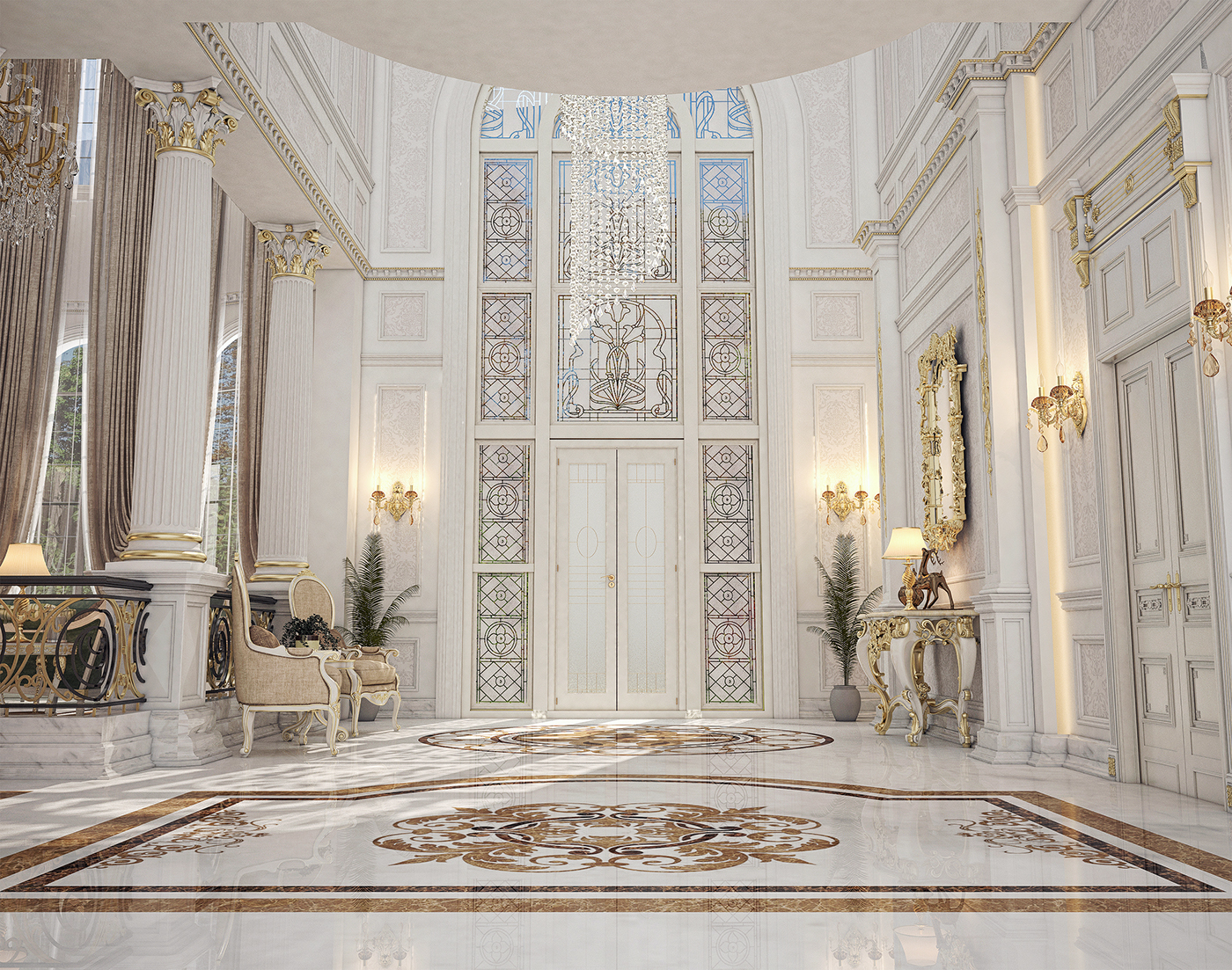 Main entrance hall design for a private villa at doha on for Entrance hall design