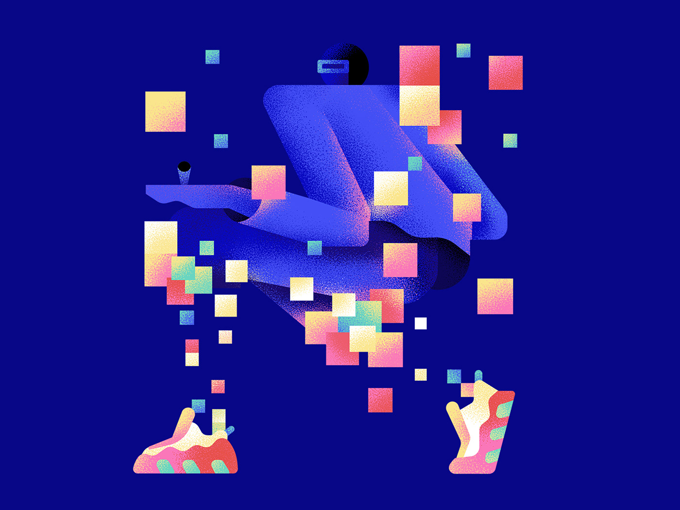 flat future ILLUSTRATION  Laptop texture Character digital pixel robot Technology
