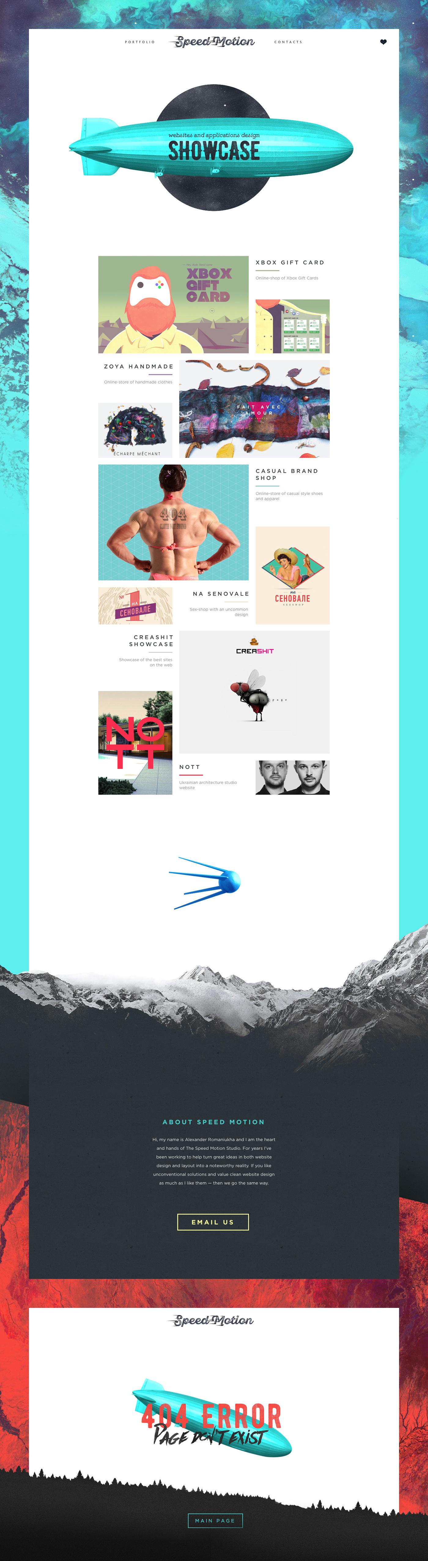 mountains,portfolio,scroll,satellite,zeppelin,landing page,Web,design,flat