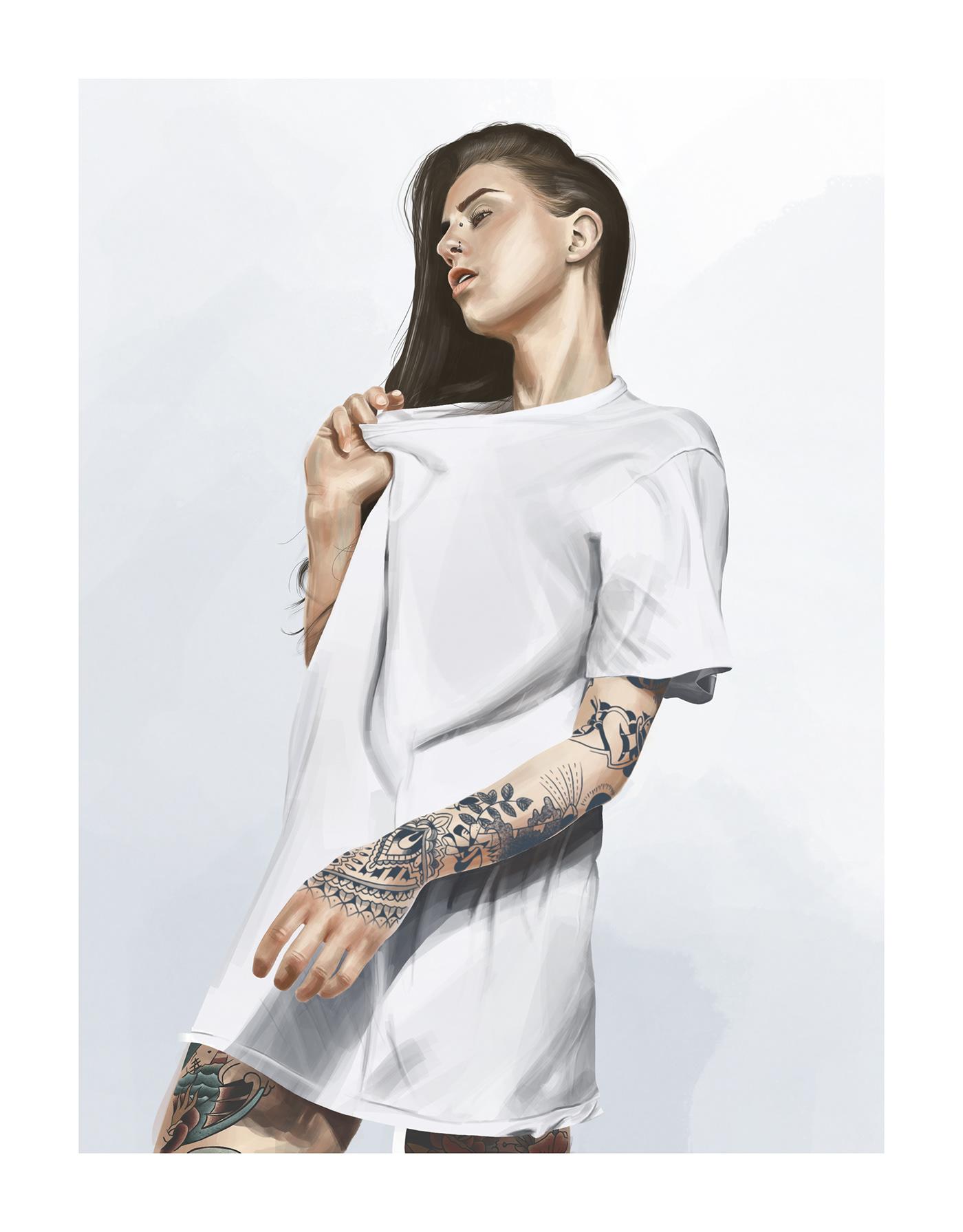Procreate digitalart digitalpainting painting   model tattoo tattooedgirl inked whiteshirt
