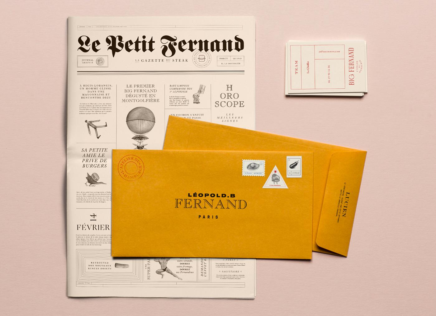 big fernand identity branding  font type Violaine & Jeremy Drawing  burger Food  stamp