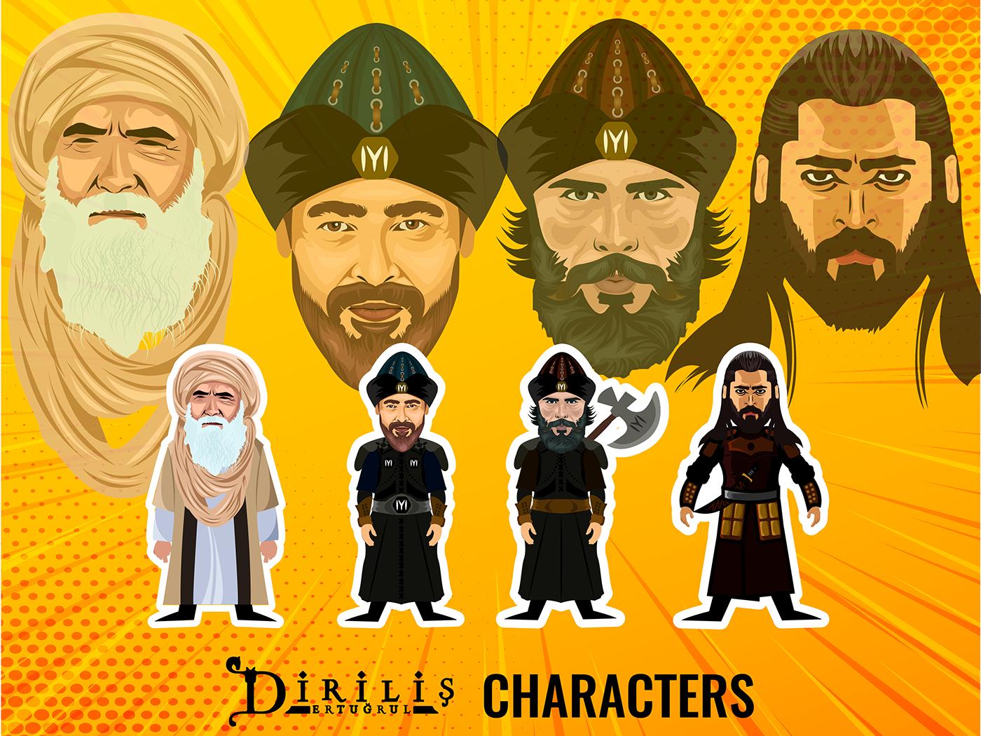 Diriliş Ertuğrul characters, caricature and vector art on Behance