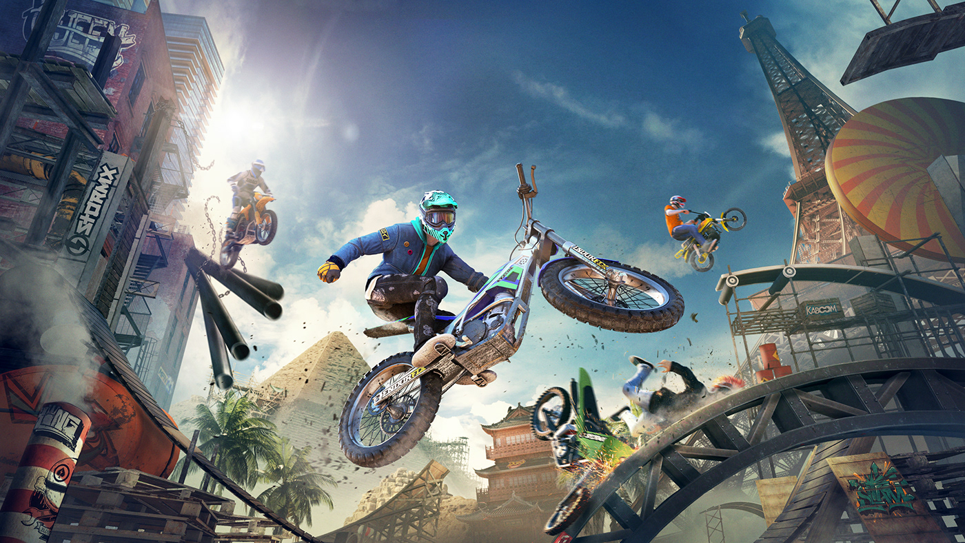 trials trials rising rider motorcycle video game eiffel tower New York pyramid temple course