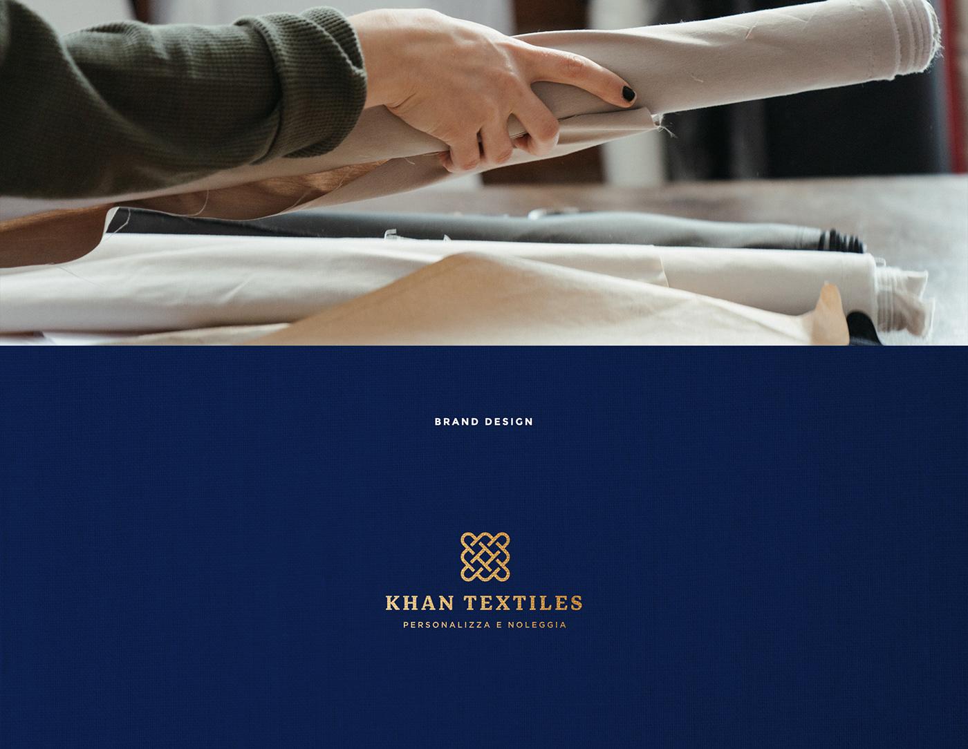 blue brand brand identity fabric gold identity logo Logo Design textile thanatos digital agency
