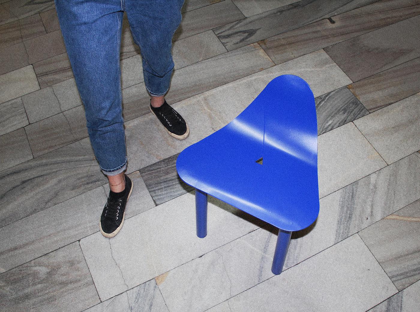 aluminium chair blue chair Craftmanship design furniture industrialdesign Marble METALFURNITURE stool