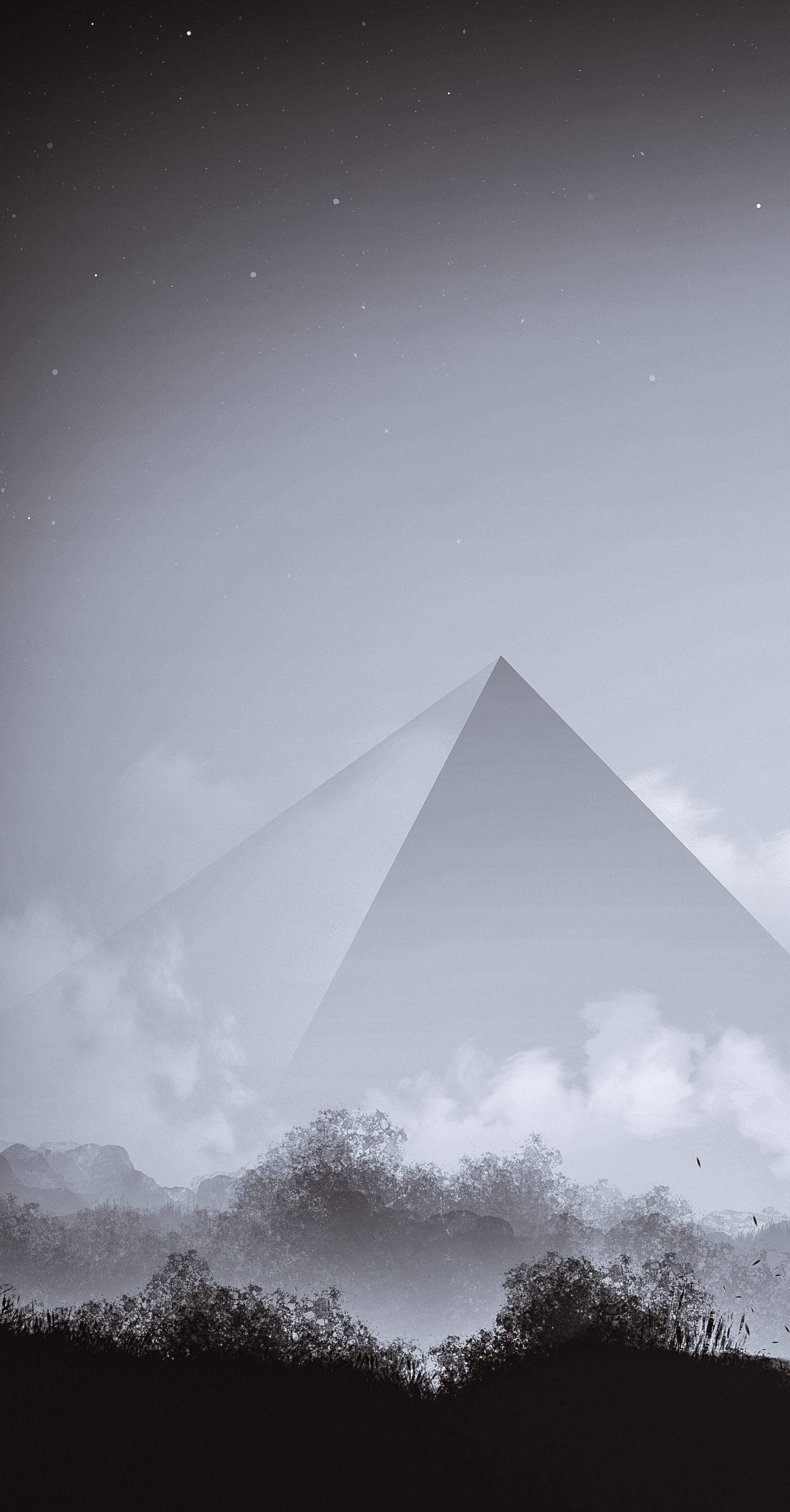 Landscape pyramid black and white monochrome clouds panorama stars SKY dark Painted lonely