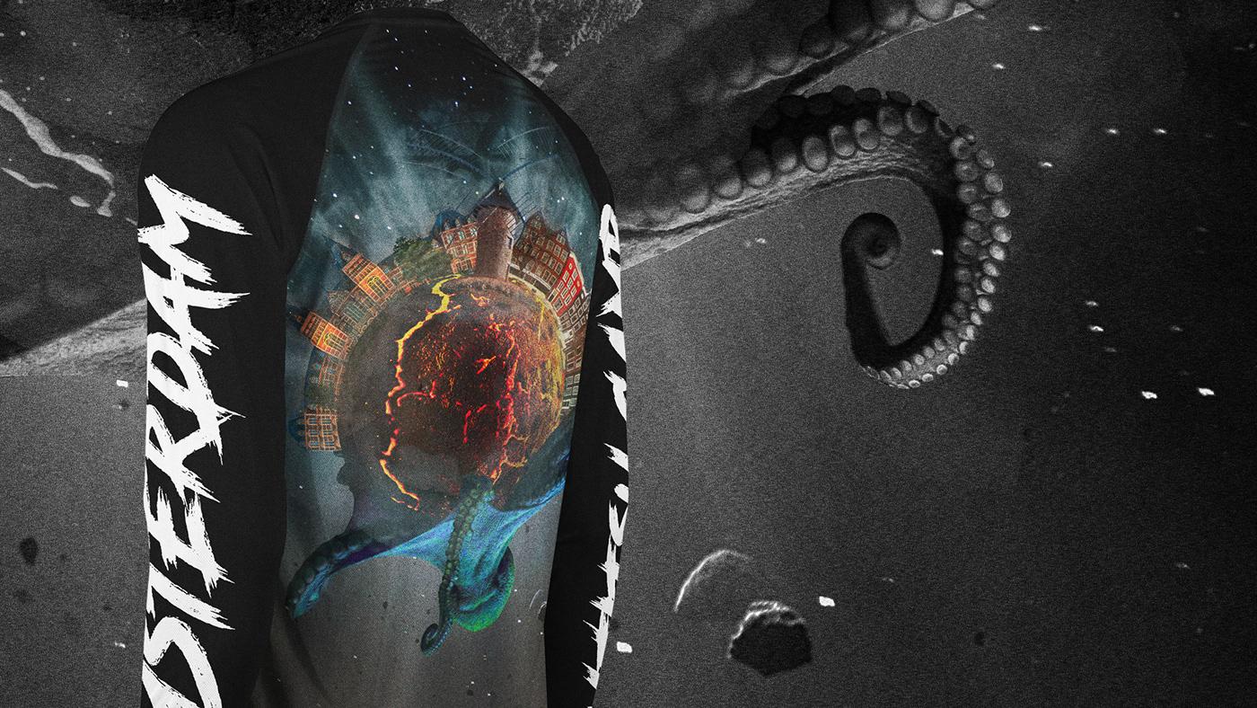 Grappling MMA rashguard planet amsterdam octopus Space  alien