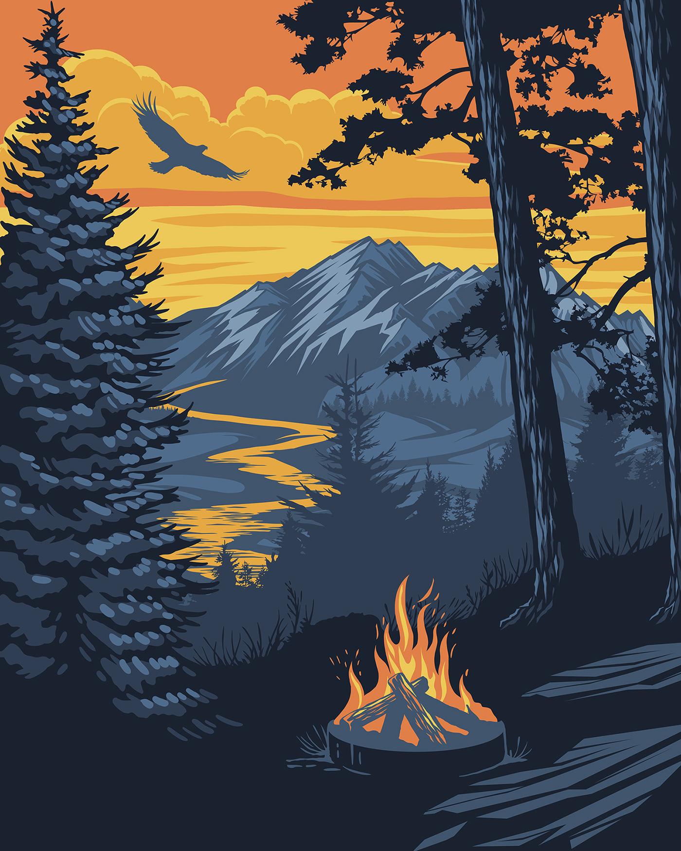Town Landscape Vector Illustration: Vector Landscape Poster1 On Behance