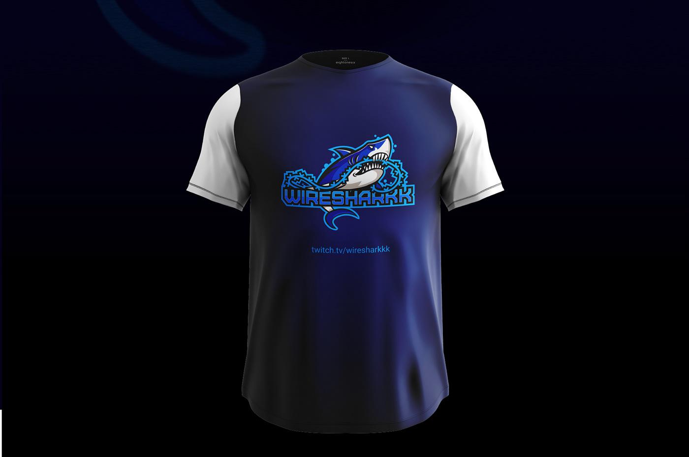 logo of a shark on thshirt