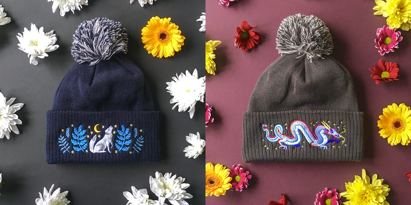 aad96b79 Papio Press x Embroidered Bobble Hats on Behance
