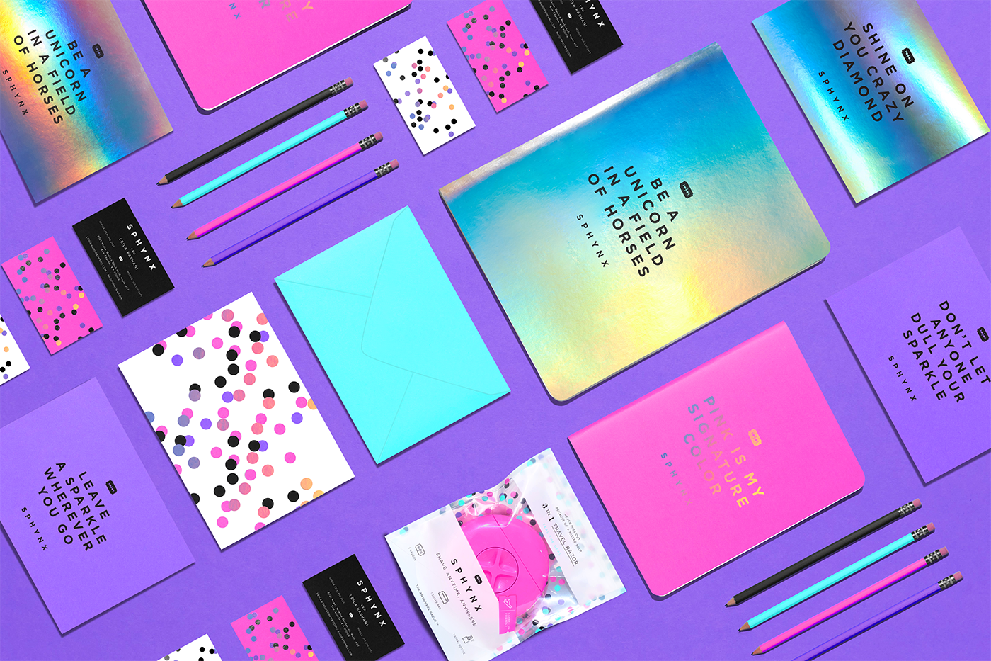 sphynx Razor beauty Packaging polkadot shaving purple pink holographic