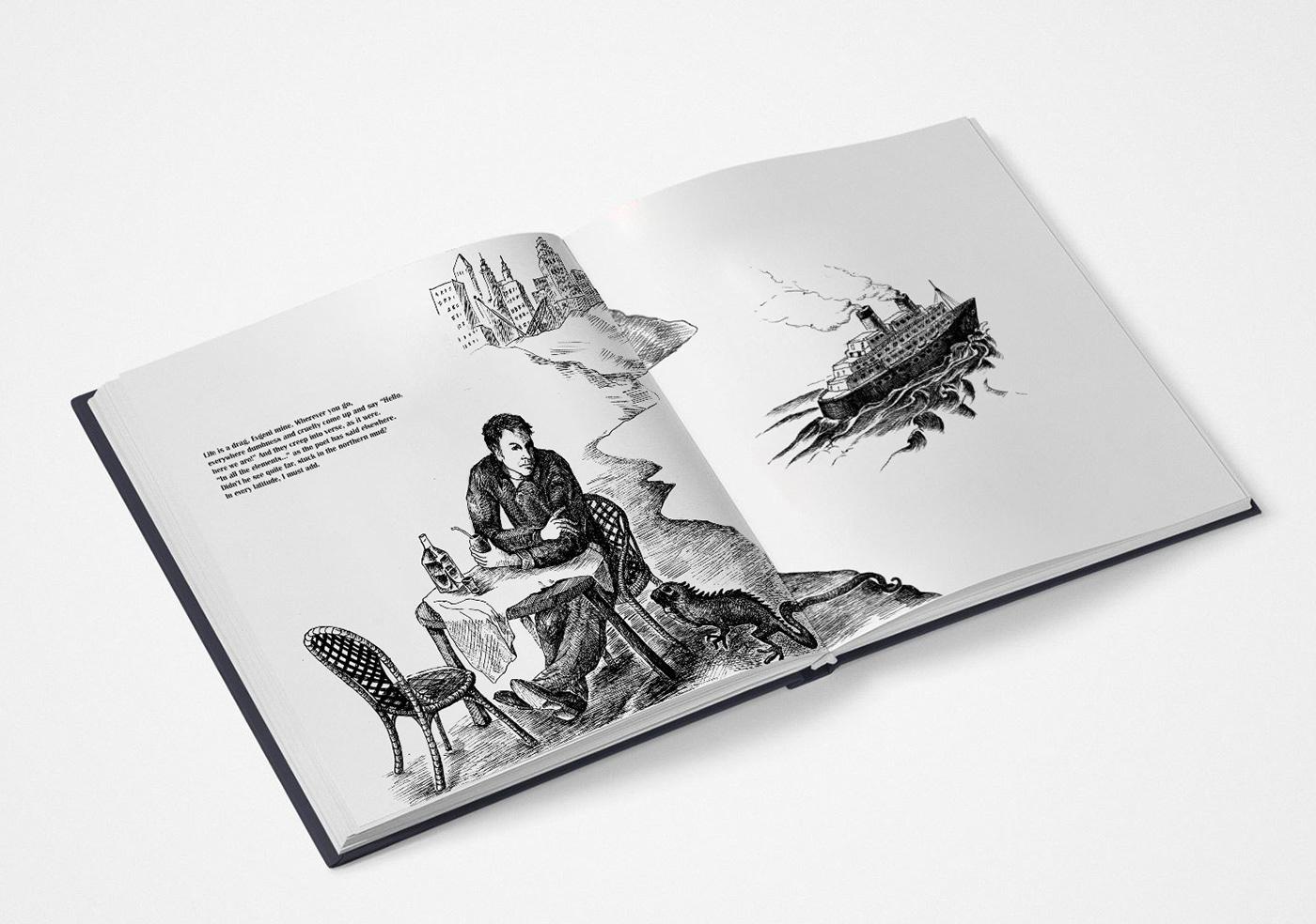 book design book illustration graphics Joseph Brodsky mexica black and white editorial design