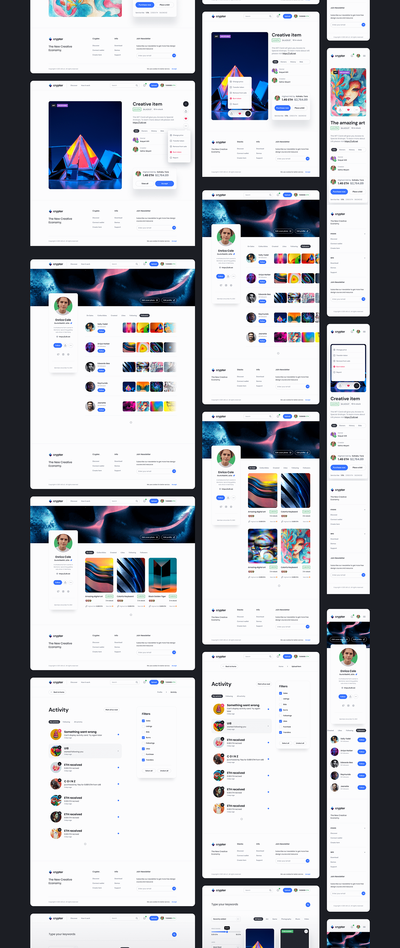 crypter crypto figma source Marketplace nft marketplace ui design ui kit UX design Web Design  Website