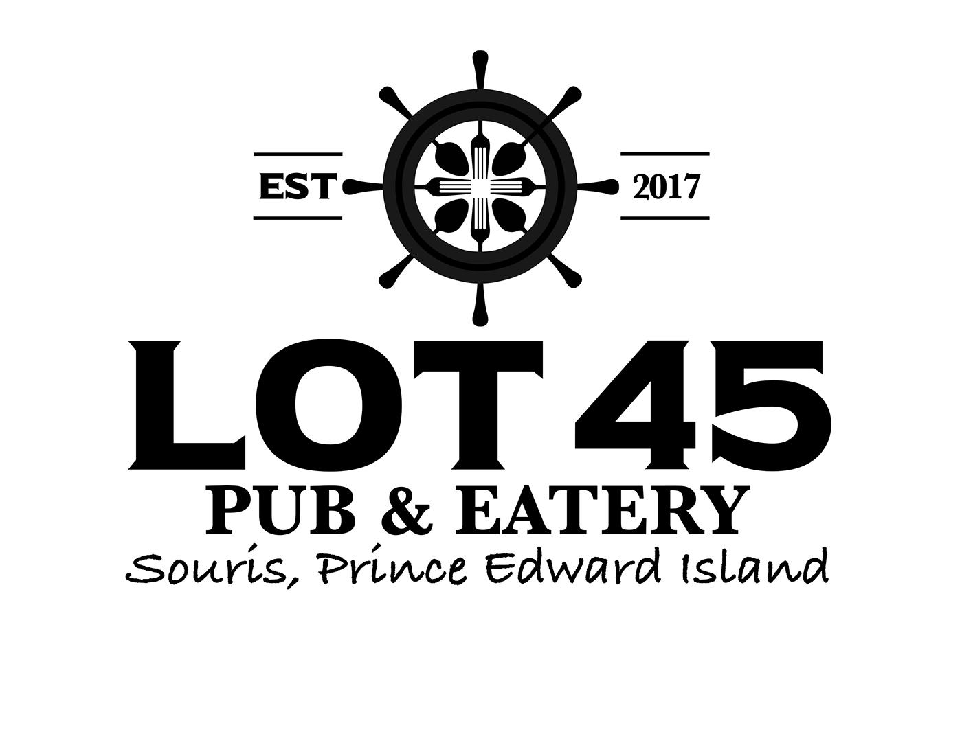 Pub logo restaurant Island Ocean ship wheel nautical knifes forks