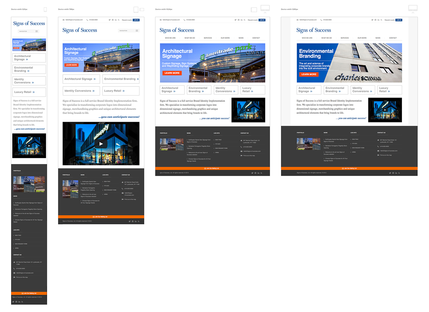 Responsive website design concepts for Signs of Success