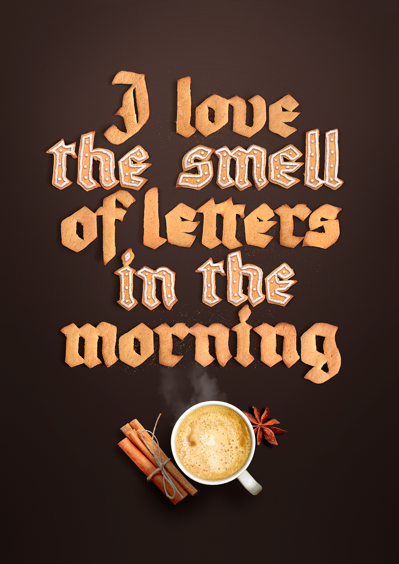 lettering print Fraktur cookie cute letters design MORNING graphics