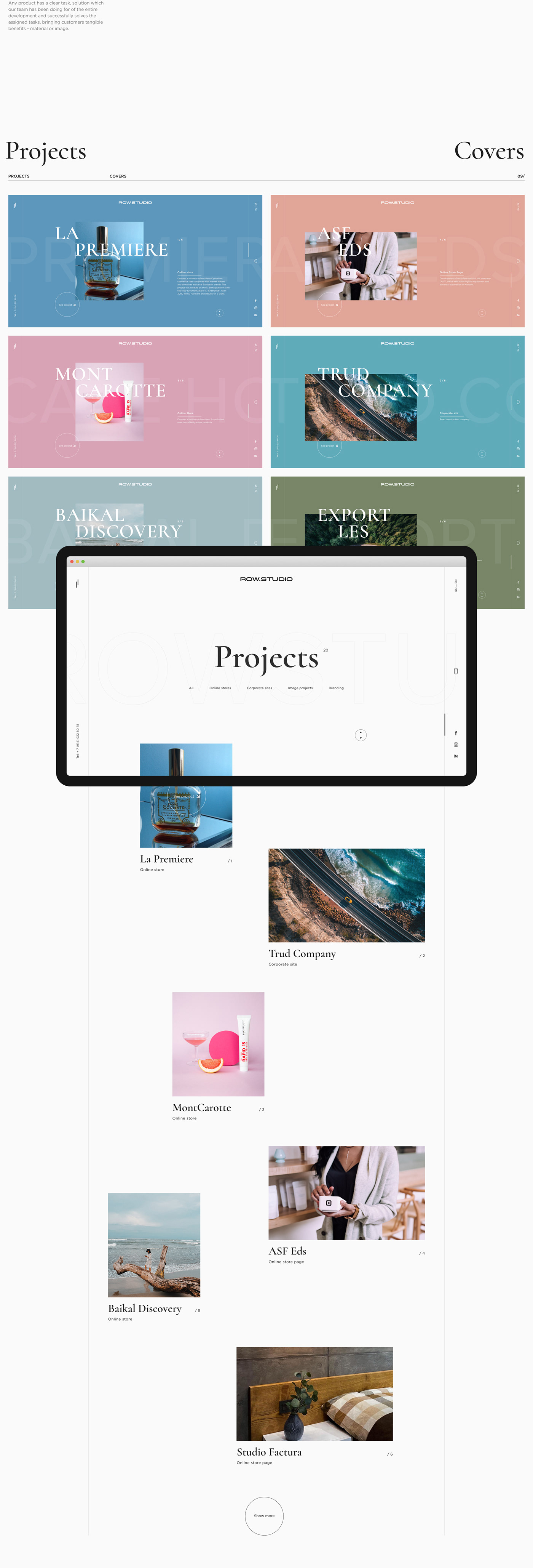 agency creative development identity interaction minimal portfolio studio Web UI