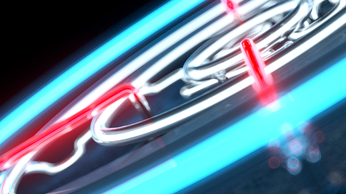 Kaspersky neon reflection glow Logotype 3D studio sas