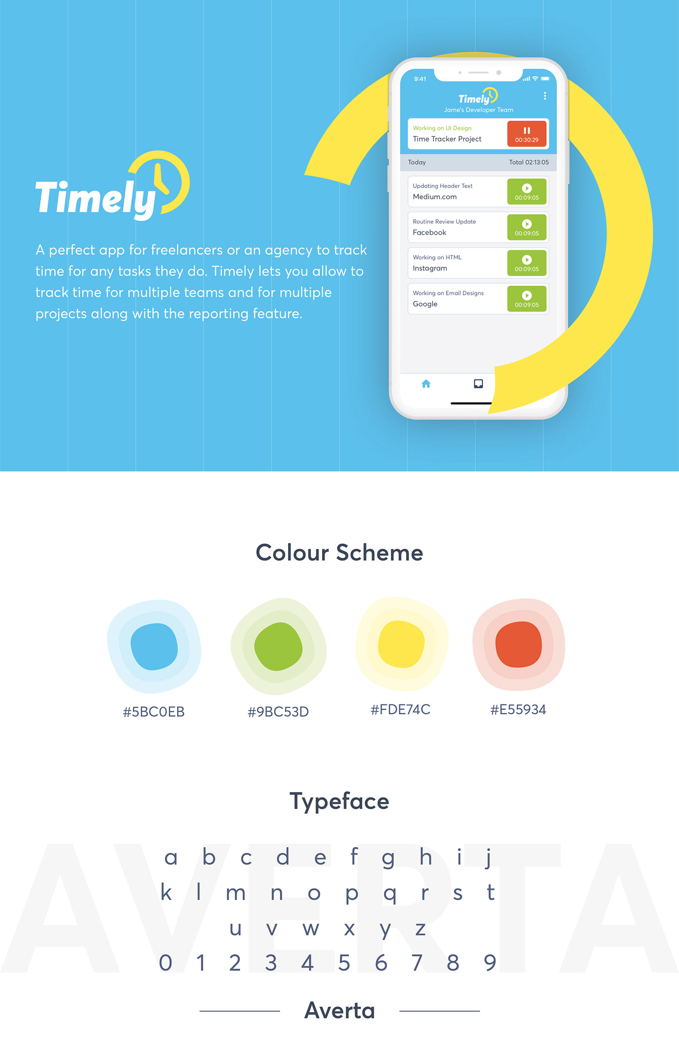 app design app ui Clean UI mobile app design time tracker time tracking app timely ui design UI/UX UX design