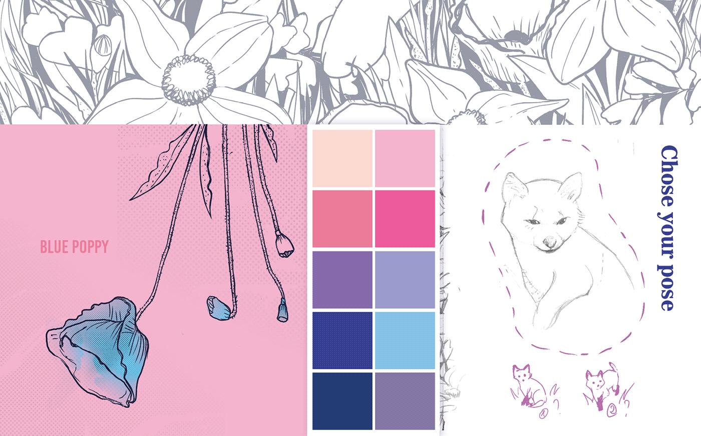 animation  creation development digital painting Flowers FOX hand drawing ILLUSTRATION
