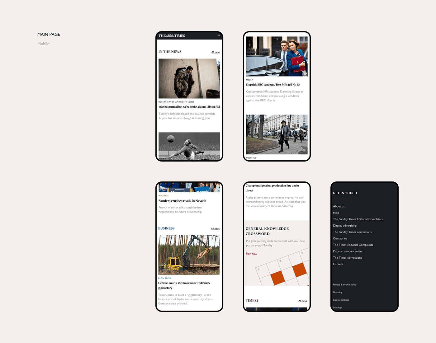 articles minimal mobile news newspaper politic redesign UI ux Web