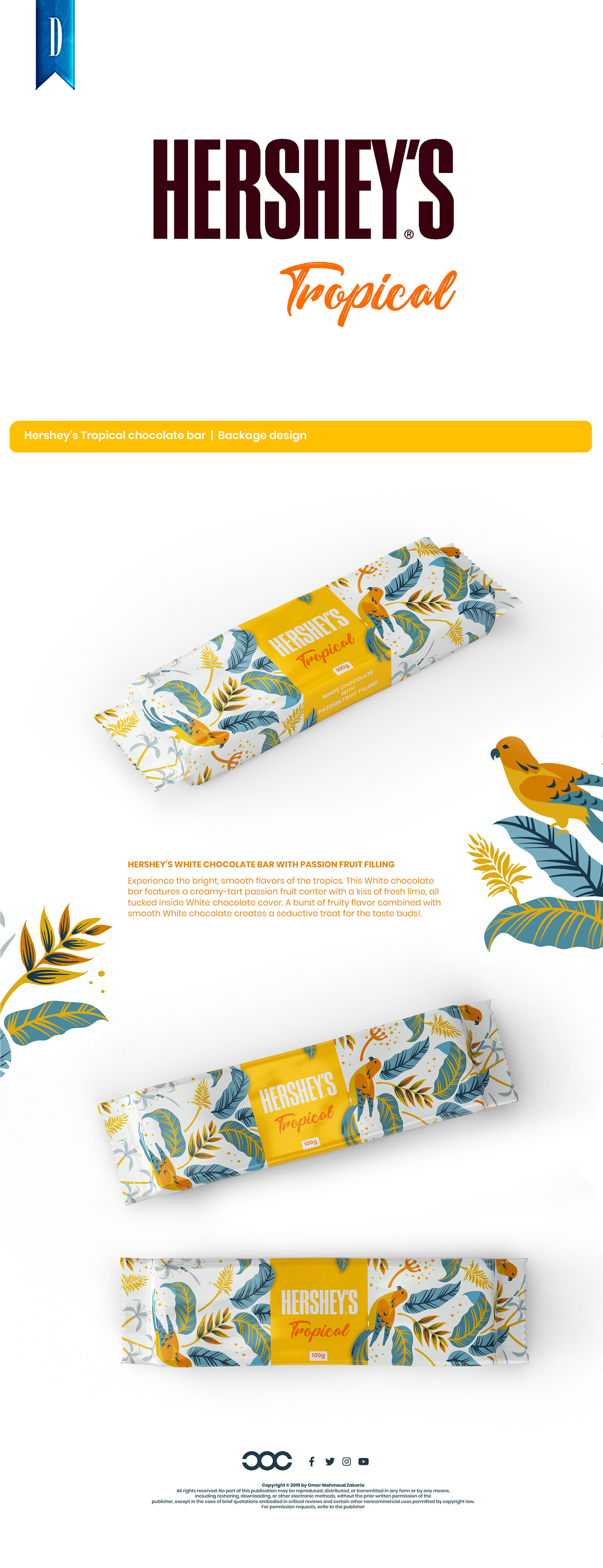 Packaging chocolate branding  hershey's design Tropical bar White art beauty
