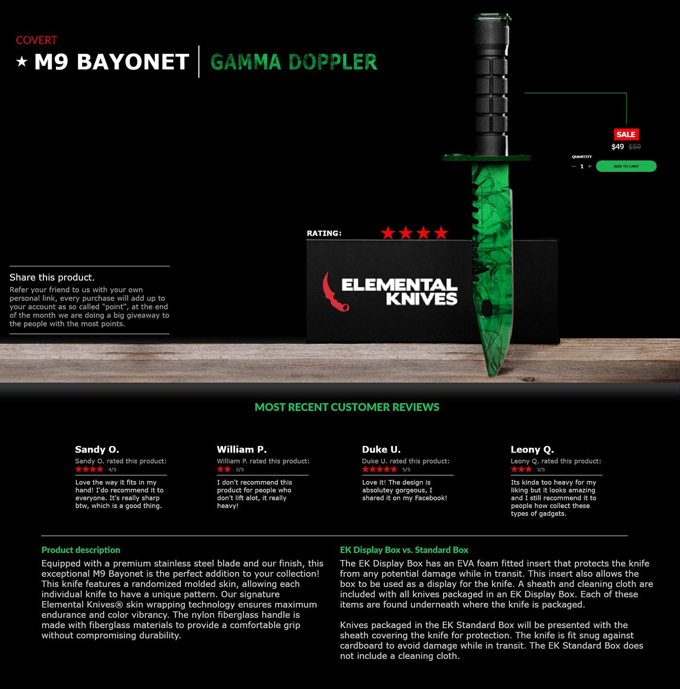 elemental knives re design on behance