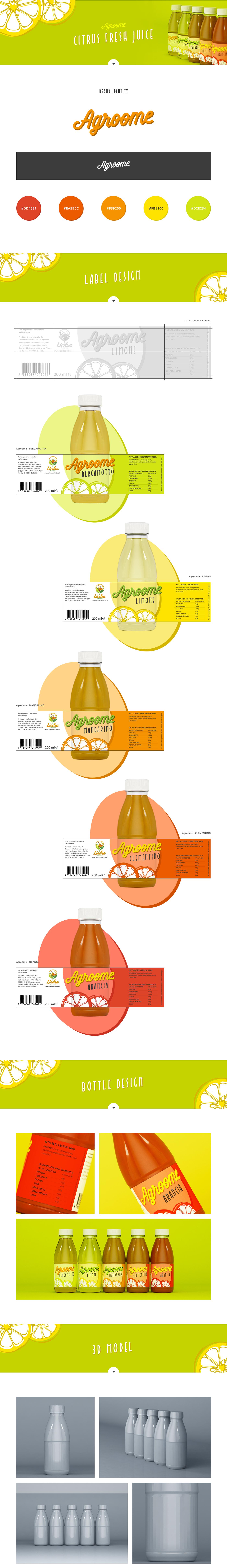juice citrus bio logo design brand bottle organic biological Biologic orange lemon 3D CALLIGRAPHY TYPE  Label