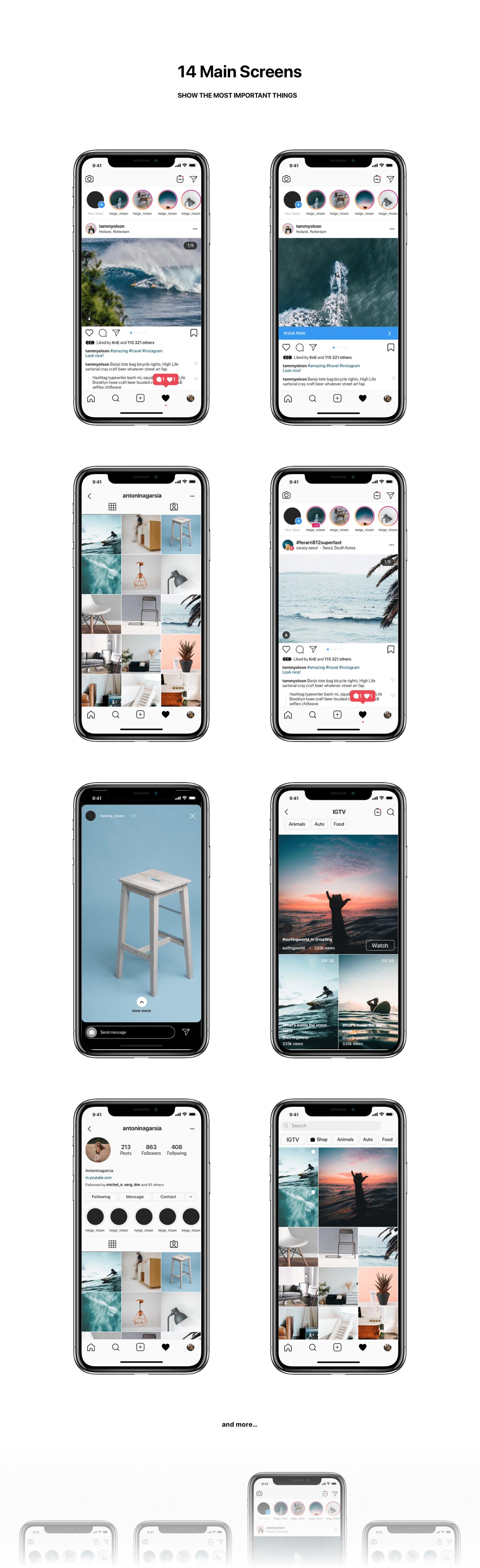 Instagram Mockup Download All Screens