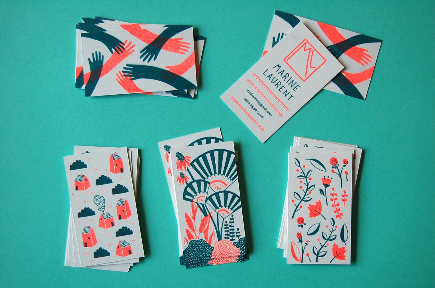 graphic design  ILLUSTRATION  risograph print business card Risographie carte de visite impression