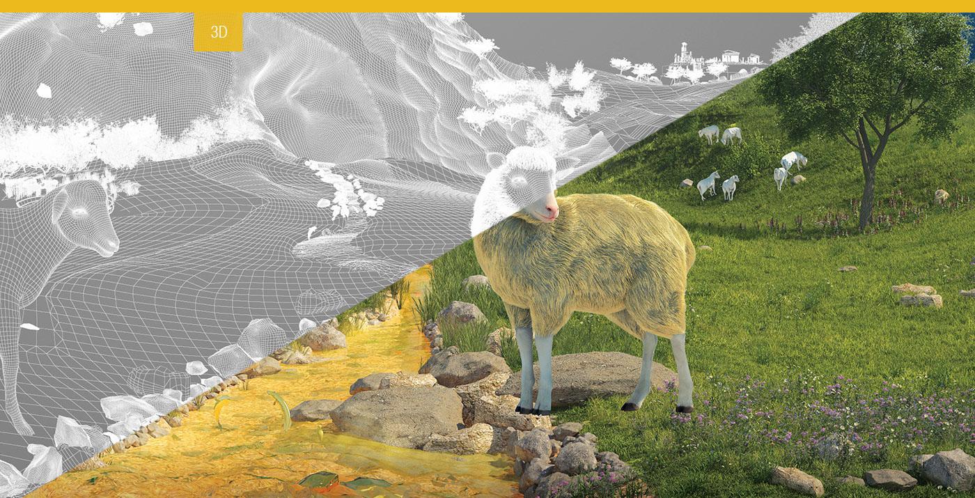sheep,3D,Nature,gold,river,mountain,money,lake,lamb,fish