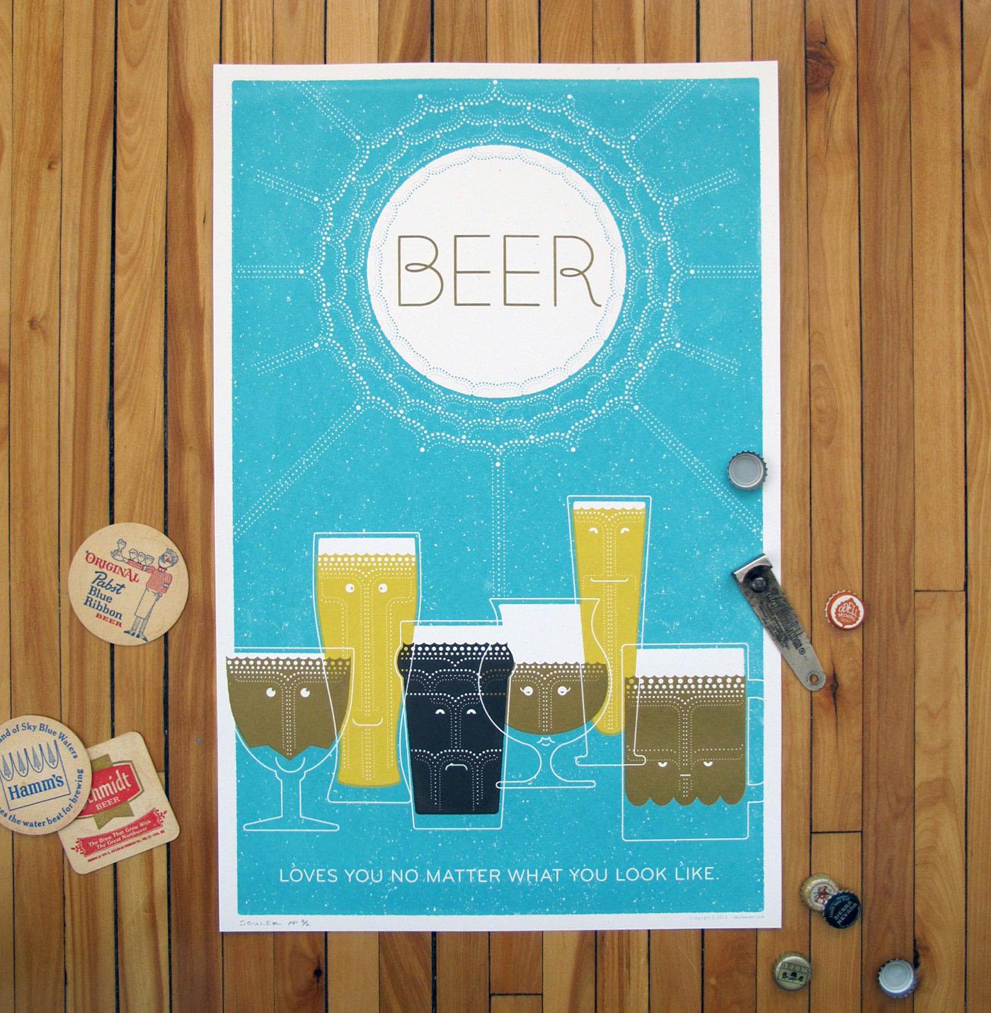 Soulseven Sam Soulek beer posters tshirts screen printing letterpress Red Bull