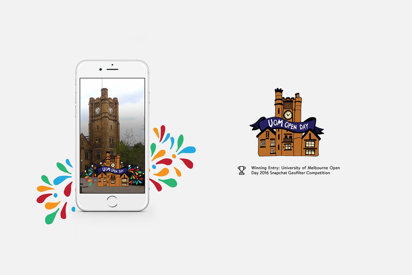 snapchat Geofilter melbourne university Australia clock tower Fun friendly Colourful  study University