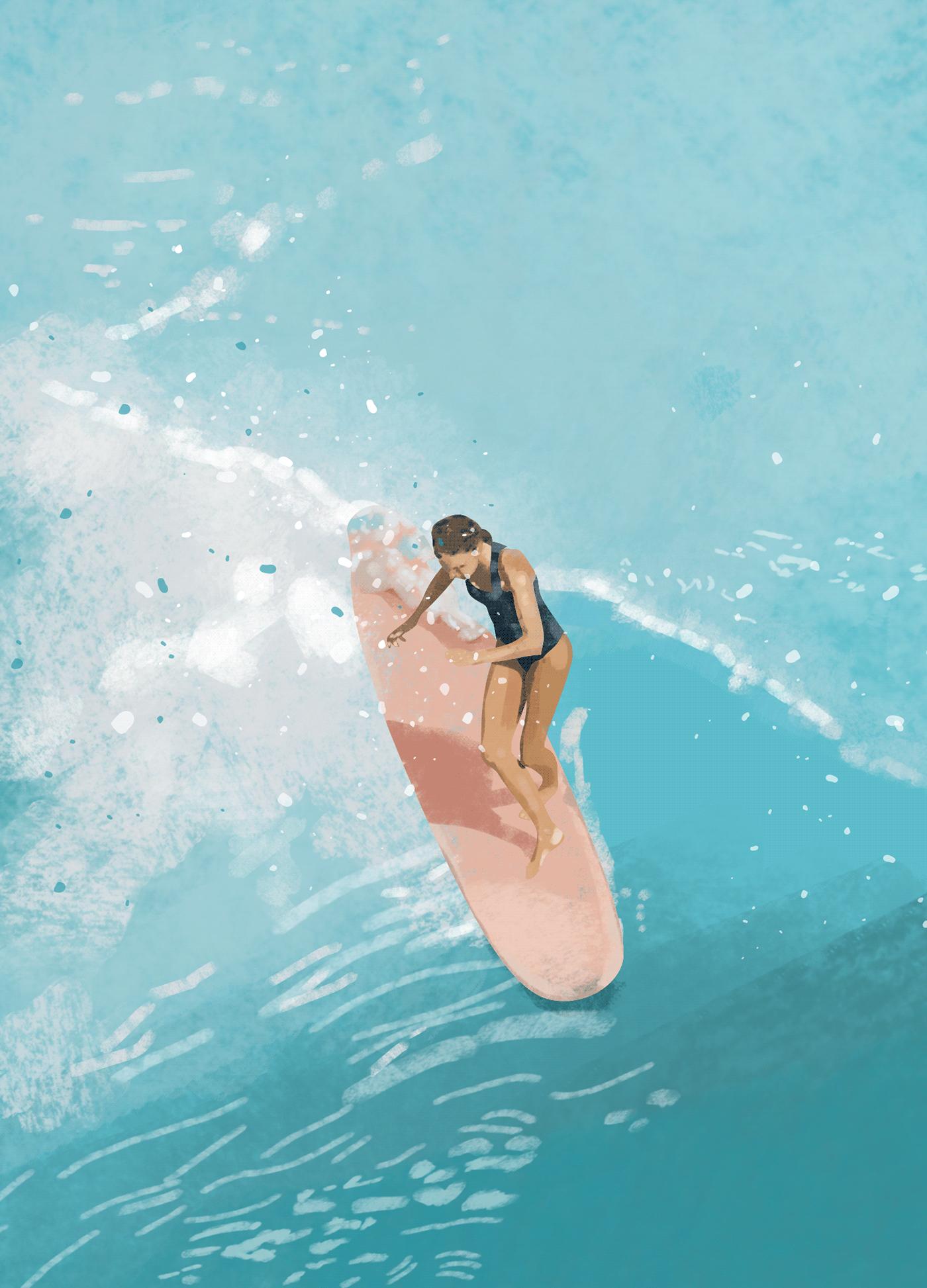 adobe art creative digitalpainting Drawing  hellokaczi ILLUSTRATION  print Surf wacom