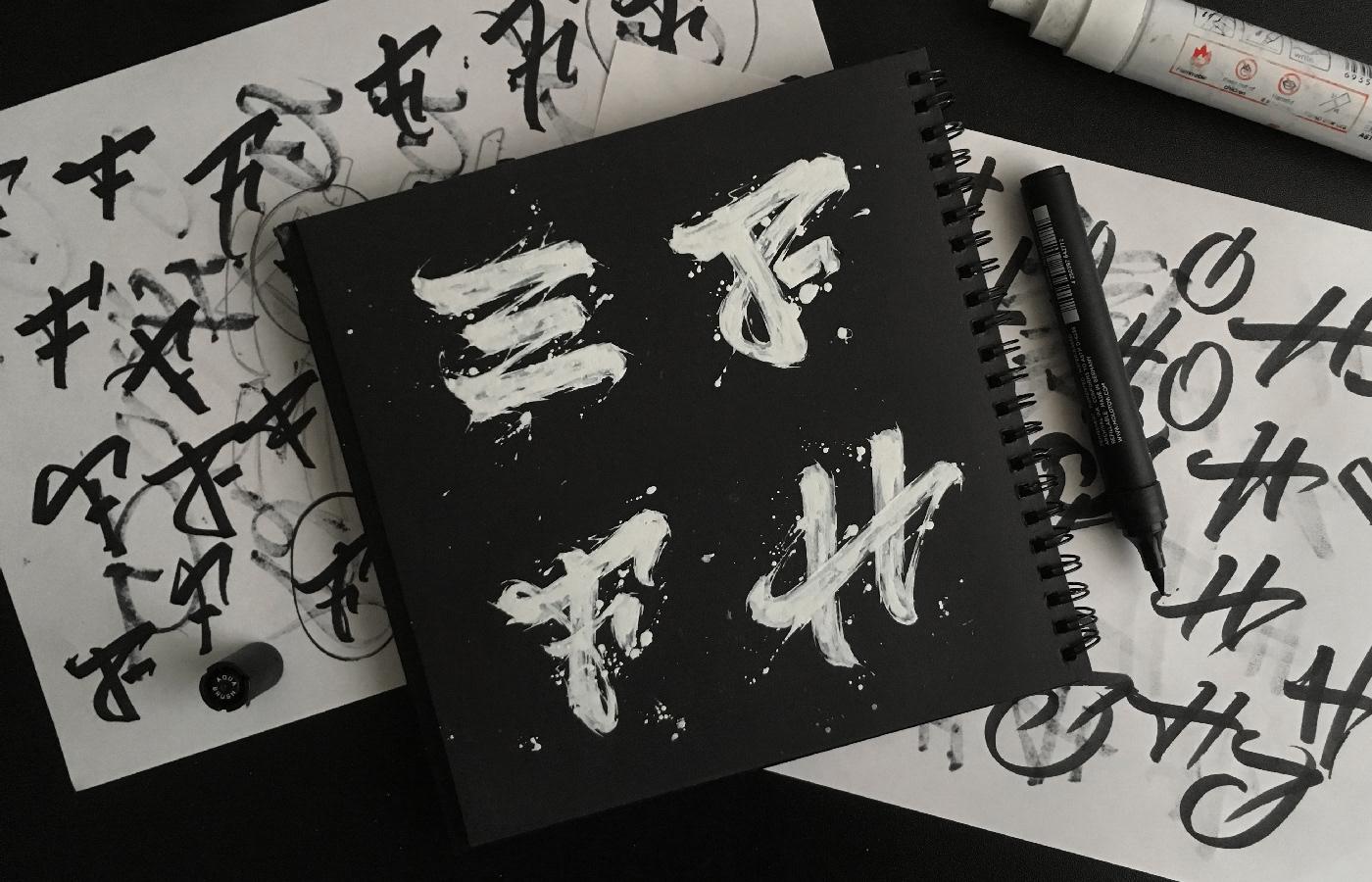 36daysoftype 36days typography   lettering Calligraphy   texture abrakadabra adobe type ink