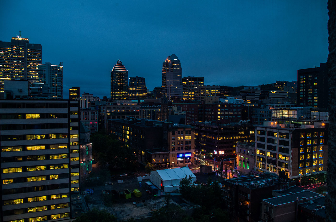 Nightfall in the city.