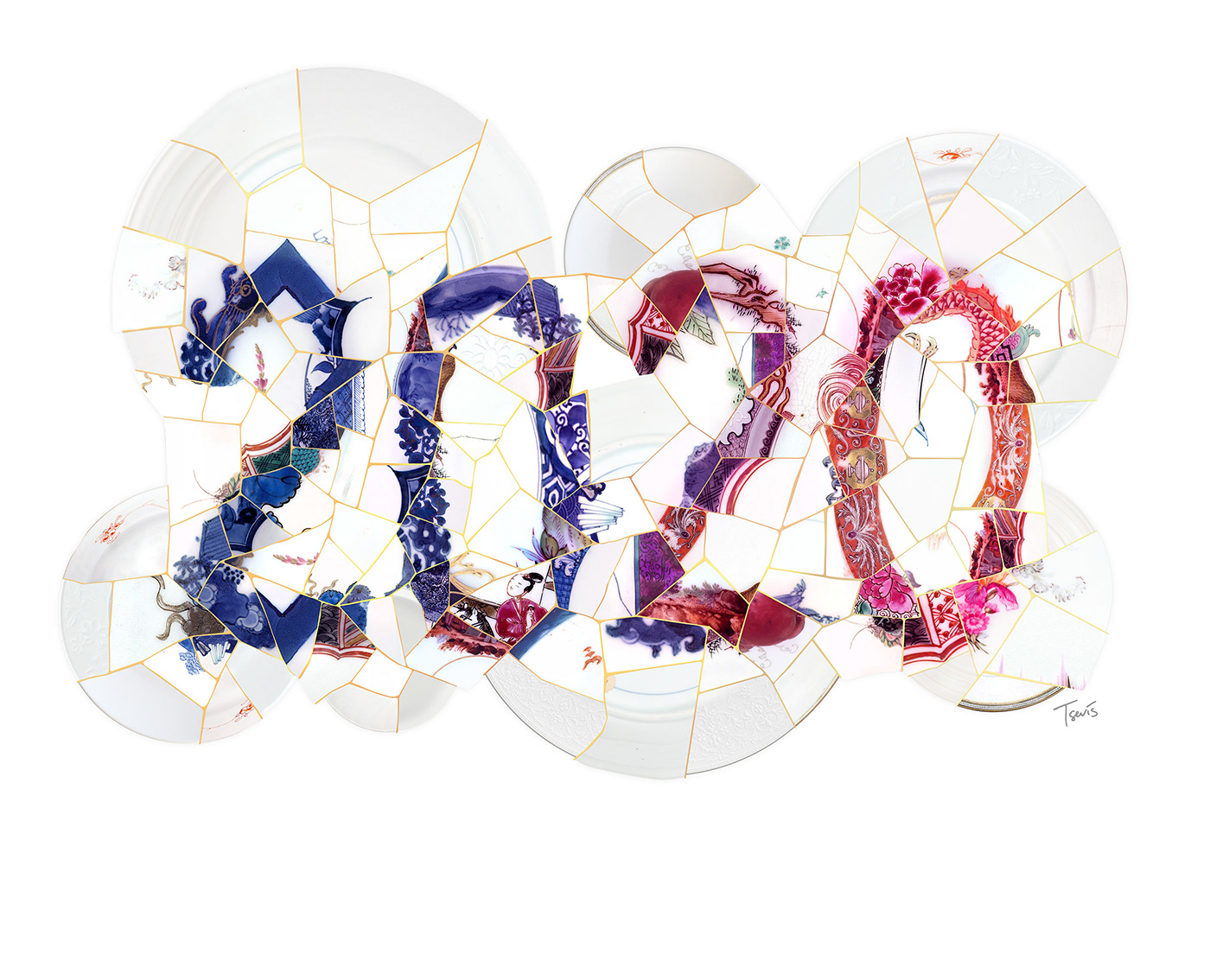 Mosaic composition of the number 2020.